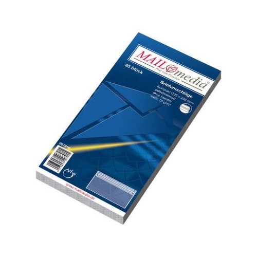 Briefumschlag selbstklebend weiß 75g/m2 DIN lang+ 125x229mm / ohne Fenster / (PACK=25 STÜCK) Produktbild Additional View 1 L