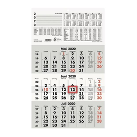 Dreimonatskalender 2020 29,5x49cm hellgrau/dunkelgrau Zettler 956-0000 Produktbild
