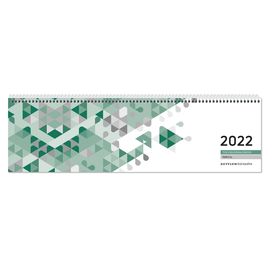 Querkalender 2022 36x10,5cm 1Woche/2Seiten grün Spiralbindung Zettler 136-0013 Produktbild