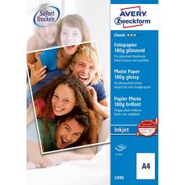 Fotopapier Inkjet Classic A4 180g weiß glossy Zweckform 2496 (PACK=100 BLATT) Produktbild