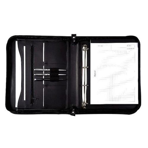Ringbuchmappe mit Reißverschluss A4 LIMONE schwarz Lederimitat Alassio 30043 Produktbild Front View L