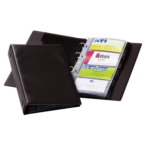 Visitenkartenringbuch Visifix Economy erweiterbar 145x255mm für 96Karten schwarz Durable 2441-01 Produktbild Front View L