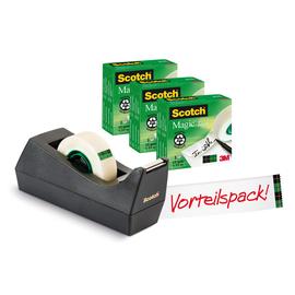 Tischabroller Scotch + 3Rollen Magicfilm füllbar bis 19mm x 33m schwarz 3M SM3-12 Produktbild