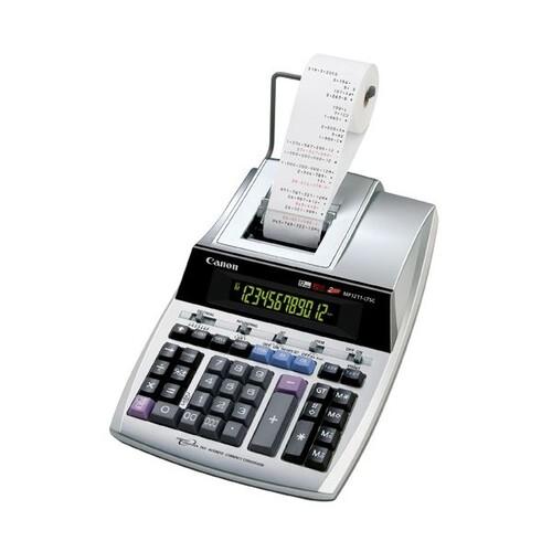 Tischrechner 12-stelliges Display 325x219x745mm zweifarbiger Druck Batteriebetrieb Canon MP-1211 LTSC Produktbild Front View L