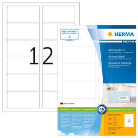 Etiketten PREMIUM Inkjet+Laser+Kopier 88,9x46,6mm auf A4 Bögen weiß permanent Herma 4666 (PACK=1200 STÜCK) Produktbild