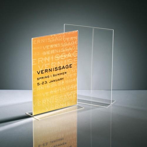 Tischaufsteller gerade für beidseitige Präsentation A4 glasklar Acryl mit Standfüßen Sigel TA220 Produktbild Additional View 1 L