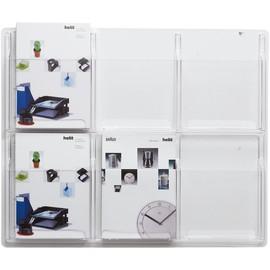 Prospekthalter-Wanddisplay Clearly 6x A4 766x51x625mm glasklar Helit H6259402 Produktbild