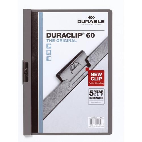 Klemmmappe Duraclip60 A4 bis 60Blatt anthrazit/grau Hartfolie Durable 2209-57 Produktbild