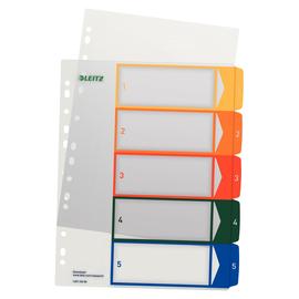 Register bedruckbar A4 245x305mm Zahlen 1-5 mehrfarbig Plastik Leitz 1291-00-00 Produktbild