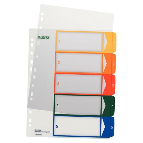 Register bedruckbar A4 245x305mm Zahlen 1-5 mehrfarbig Plastik Leitz 1291-00-00 Produktbild Front View L
