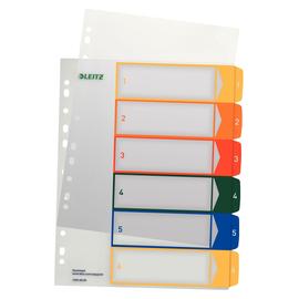 Register bedruckbar A4 245x305mm Zahlen 1-6 mehrfarbig Plastik Leitz 1292-00-00 Produktbild