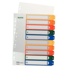 Register bedruckbar A4 245x305mm Zahlen 1-10 mehrfarbig Plastik Leitz 1293-00-00 Produktbild
