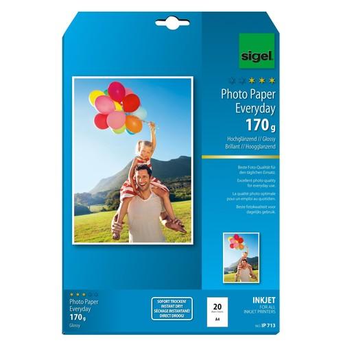 Fotopapier Inkjet Everyday Plus A4 170g weiß high-glossy Sigel IP713 (PACK=20 BLATT) Produktbild Additional View 1 L