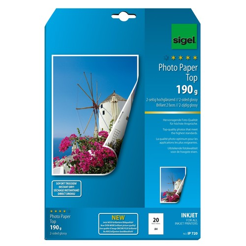 Fotopapier Inkjet Top A4 190g hochweiß high-glossy beidseitig Sigel IP720 (PACK=20 BLATT) Produktbild Additional View 1 L