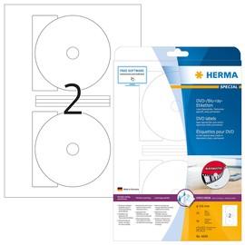 DVD-Etiketten Inkjet+Laser+Kopier 116mm ø weiß + Zentrierhilfe Herma 4699 (PACK=50 STÜCK) Produktbild