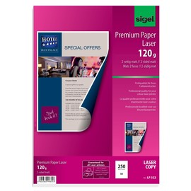 Fotopapier Laser+Kopier Premium A4 120g superweiß beidseitig matt Sigel LP322 (PACK=250 BLATT) Produktbild