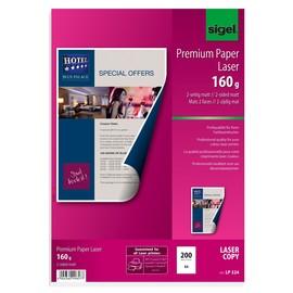 Fotopapier Laser+Kopier Premium A4 160g superweiß beidseitig matt Sigel LP324 (PACK=200 BLATT) Produktbild