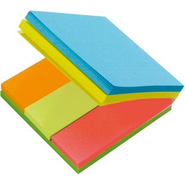 Haftnotizen Post-it Multi Notes 76x76mm + 25x76mm neonfarben Papier 3M 2028A (PACK=6x 50 BLATT) Produktbild