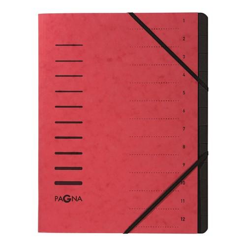 Ordnungsmappe mit 12 Fächern rot Karton 40059-01 Produktbild