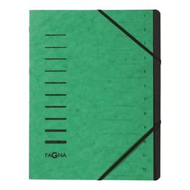 Ordnungsmappe mit 12 Fächern grün Karton 40059-03 Produktbild