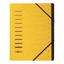 Ordnungsmappe mit 12 Fächern gelb Karton 40059-05 Produktbild