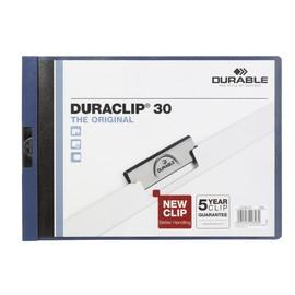 Klemmmappe Duraclip30 Querformat A4quer bis 30Blatt dunkelblau Hartfolie Durable 2246-07 Produktbild