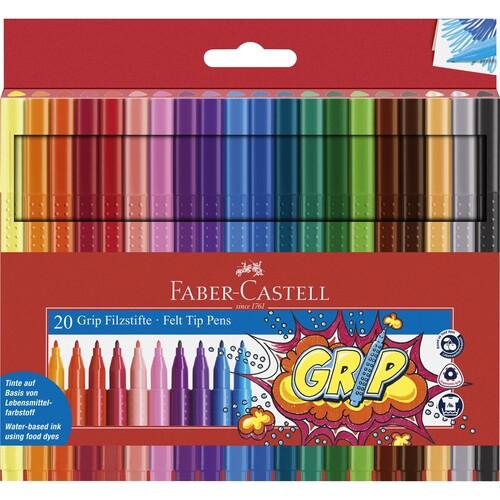 Fasermaler Grip Colour Marker Etu sortiert Faber Castell 155320 (ETUI=20 STÜCK) Produktbild Front View L