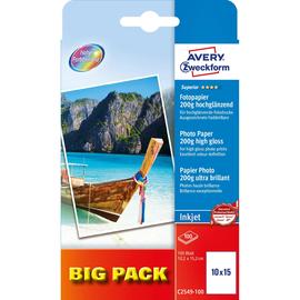 Fotopapier Inkjet Superior 10x15cm 200g weiß high-glossy Zweckform C2549-100 (PACK=100 BLATT) Produktbild