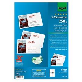 Visitenkarten Inkjet 85x55mm 250g weiß hochglänzend glatte Kanten Sigel IP526 (PACK=100 STÜCK) Produktbild