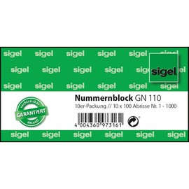 Garderobennummernblock 1-1000 105x50mm verschiedene Farben Papier Sigel GN110 (PACK = 10 BLÖCKE) Produktbild