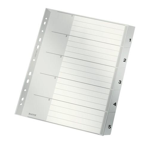 Register A4 überbreit 238x297mm Zahlen 1-5 grau Plastik Leitz 1283-00-85 Produktbild Front View L