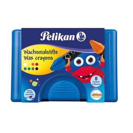 Wachsmalkreiden 666/8WL im blauen Kunststoffetui sortiert wasserlöslich extra dick Pelikan 722959 (ETUI=8 STÜCK) Produktbild