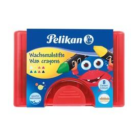 Wachsmalkreiden 665/8D im roten Kunststoffetui sortiert wasserfest dreikant Pelikan 722942 (ETUI=8 STÜCK) Produktbild