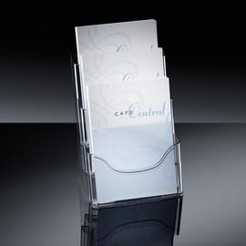 Tisch-Prospekthalter 3x A4 je 30mm glasklar Acryl Sigel LH130 Produktbild