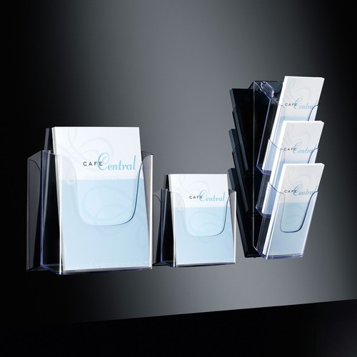 Wand-Prospekthalter 1x A4 45mm glasklar Acryl Sigel LH115 Produktbild Additional View 3 L