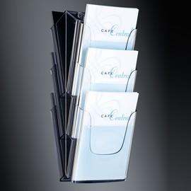 Wand-Prospekthalter 3x A4 je 30mm glasklar Acryl Sigel LH135 Produktbild