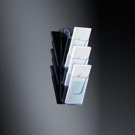 Wand-Prospekthalter 3x DIN Lang je 30mm glasklar Acryl Sigel LH137 Produktbild
