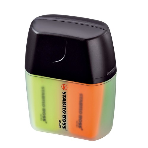 Textmarker Boss 07 Mini Box 2-5mm Keilspitze gelb/blau/grün/orange Box Stabilo 07/04-01 (PACK=4 STÜCK) Produktbild Additional View 1 L
