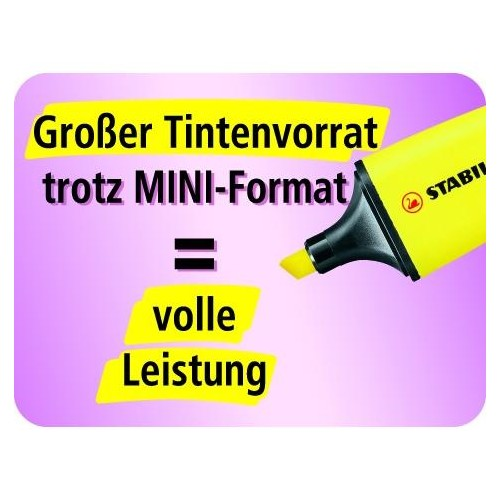 Textmarker Boss 07 Mini Box 2-5mm Keilspitze gelb/blau/grün/orange Box Stabilo 07/04-01 (PACK=4 STÜCK) Produktbild Additional View 4 L
