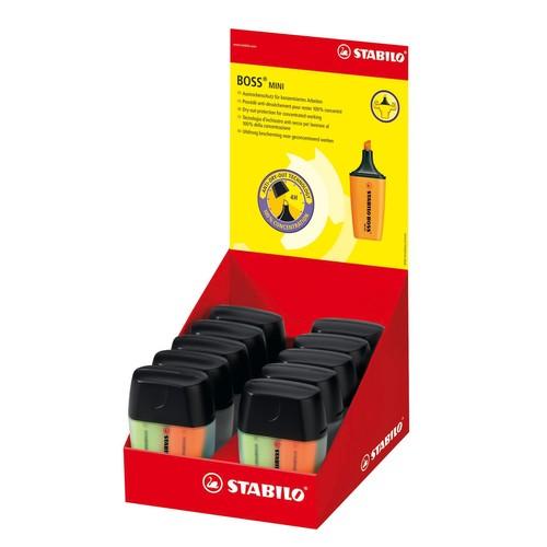 Textmarker Boss 07 Mini Box 2-5mm Keilspitze gelb/blau/grün/orange Box Stabilo 07/04-01 (PACK=4 STÜCK) Produktbild Additional View 2 L