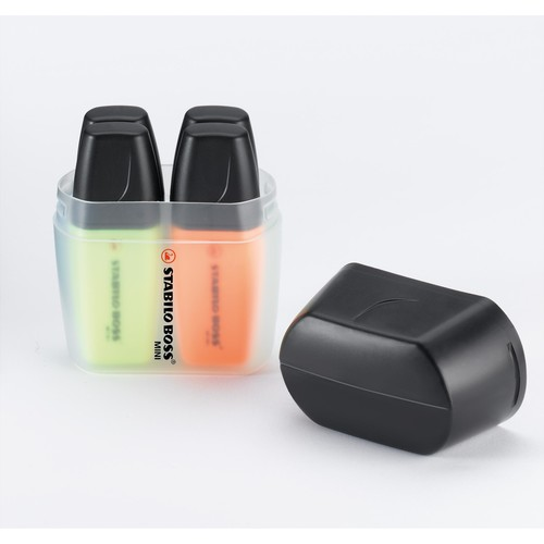 Textmarker Boss 07 Mini Box 2-5mm Keilspitze gelb/blau/grün/orange Box Stabilo 07/04-01 (PACK=4 STÜCK) Produktbild