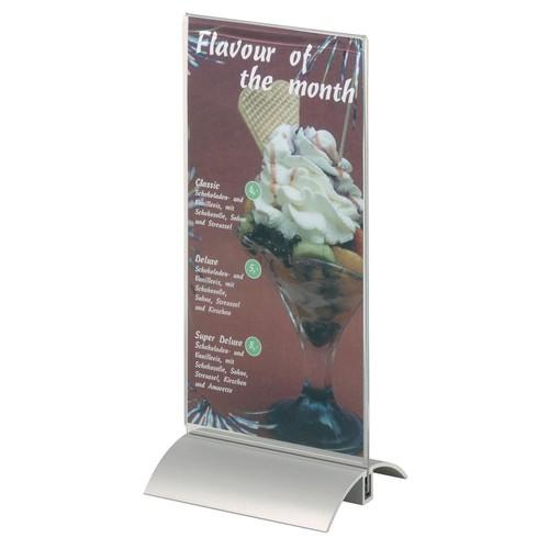 Tischaufsteller PRESENTER 1/3 A4 107x237x85mm Acryl Aluminiumfuß Durable 8587-19 Produktbild Additional View 1 L