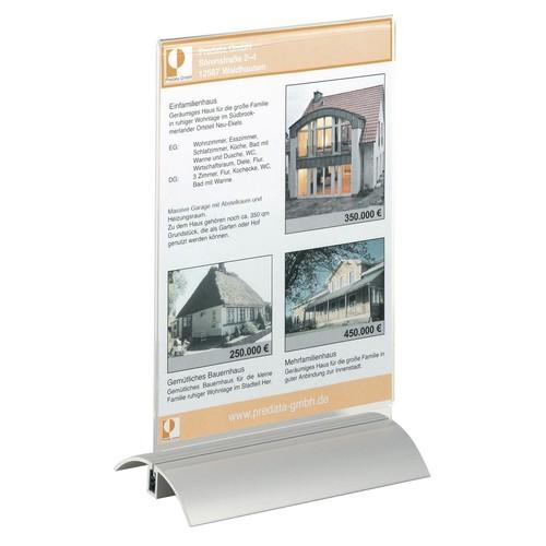 Tischaufsteller PRESENTER 1/3 A4 107x237x85mm Acryl Aluminiumfuß Durable 8587-19 Produktbild Additional View 2 L