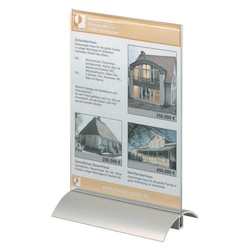 Tischaufsteller PRESENTER 1/3 A4 107x237x85mm Acryl Aluminiumfuß Durable 8587-19 Produktbild Additional View 3 L