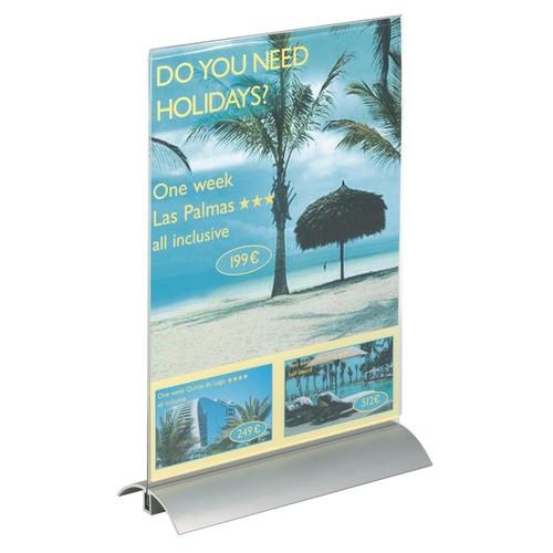 Tischaufsteller PRESENTER 1/3 A4 107x237x85mm Acryl Aluminiumfuß Durable 8587-19 Produktbild Additional View 4 L