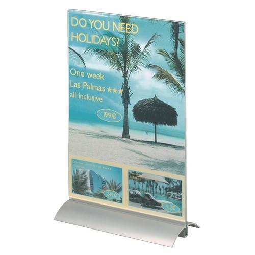 Tischaufsteller PRESENTER 1/3 A4 107x237x85mm Acryl Aluminiumfuß Durable 8587-19 Produktbild Additional View 5 L