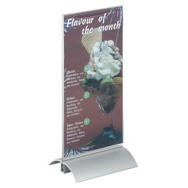 Tischaufsteller PRESENTER A5 150x237x85mm Acryl Aluminiumfuß Durable 8588-19 Produktbild