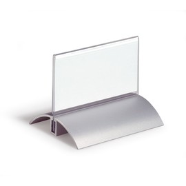 Tischnamensschild DESK PRESENTER DE LUXE 52x100mm transparent mit Aluminiumfuß Durable 8200-19 (PACK=2 STÜCK) Produktbild