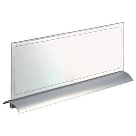 Tischnamensschild DESK PRESENTER DE LUXE 149x420mm transparent mit Aluminiumfuß Durable 8204-19 (PACK=2 STÜCK) Produktbild