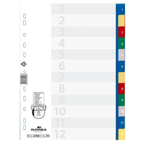 Register A4 230x297mm Zahlen 1-12 mehrfarbig Plastik Durable 6750-27 Produktbild Additional View 1 L
